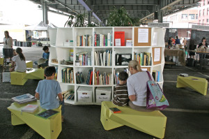 The Uni portable reading room launches in Lower Manhattan on Sep. 11, 2011.