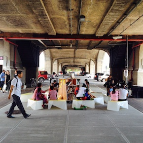 Uni transforms a new plaza under the elevated in Sunnyside