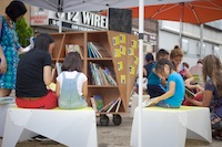 The Uni portable reading room at Diversity Plaza July 18, 2015.