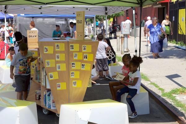 Uni at East Harlem farmers market play street