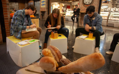 Gathering at Chelsea Market to draw…bread!